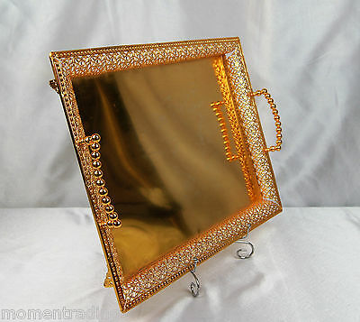 Gold Plated Metal Lace Arabian/Turkish Style Steel Polished Serving Tray