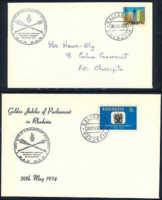 """Rhodesia 1974 """"Golden Jubilee of Parliament"""" Covers x (2)"""