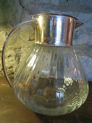 Large German Mid Century WMF Decanter Cold Duck Glass & Silver Plated