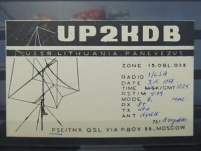 4125 QSL Card USSR Lithuania Panevezys 1968