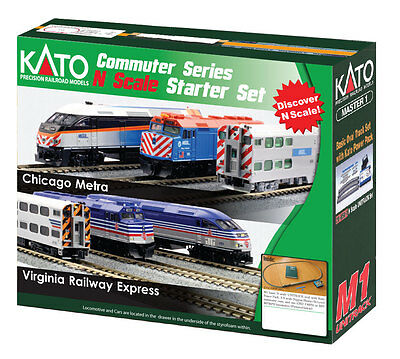 Kato 106-0034 N Scale Virginia Railway Express F40PH Commuter Train Starter Set