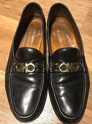 Salvatore Ferragamo Buckle Mens Black Leather Slip On Loafers Size 10D Worn