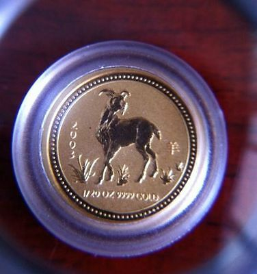 2003 AUSTRALIA GOLD 1/20 oz. $5 LUNAR YEAR OF THE  GOAT SERIES ONE -
