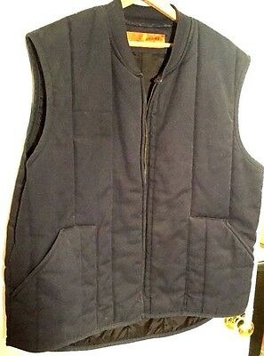 Vintage Red Kap Navy Blue 2 Pocket Zip Up Insulated Work Hunting Camping XL Vest