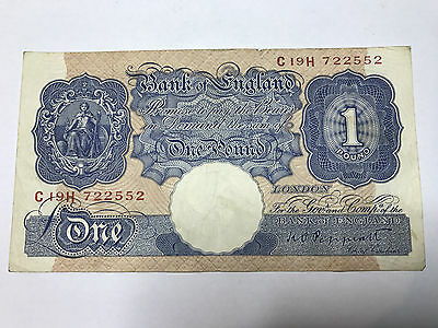 1940 Blue and Pink One Pound War Time Emergency Banknote, KO Peppiatt Cashier