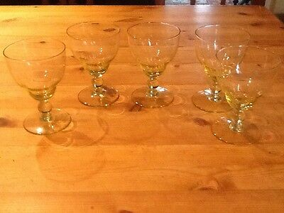 5 yellow tinted Vintage   wine glasses