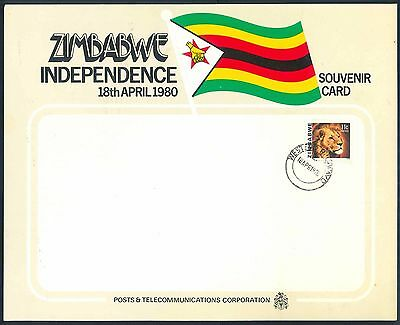 """Zimbabwe 1980 """"Independence"""" illustrated First Day Souvenir Card"""