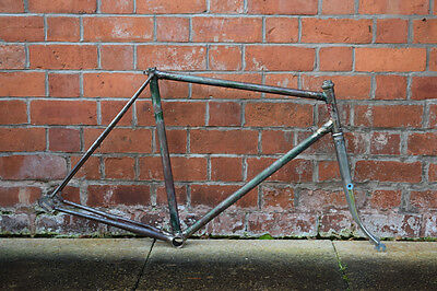 1960s VINTAGE 57CM STEEL ROAD TOURING BICYCLE FRAME & FORK SET - FIXIE PROJECT