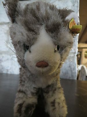 Vintage Steiff Tabby Cat Sissy 1970s 1980s Blue Eyes Playing Stance