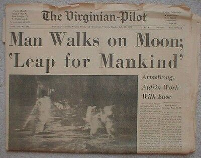 1969 Man on the MOON APOLLO 11 Neil Armstrong Newspaper Vintage old 7-21-69 #2