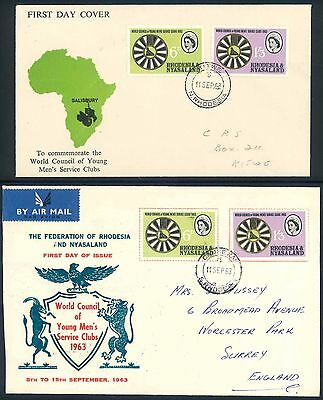 """Rhodesia & Nyasaland 1963 """"Men Service Clubs"""" illustrated First Day Covers x (3)"""