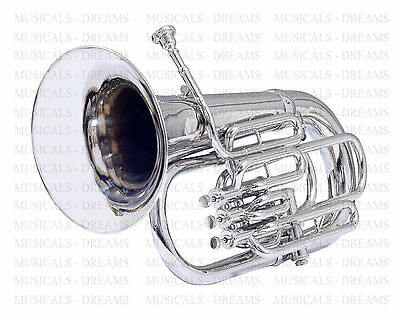 4 VALVE Bb FLAT EUPHONIUM FOR SALE NICKEL PLATED WITH FREE CASE + MOUTH PIECE