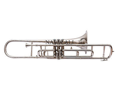 TROMBONE SILVER COLORED NICKEL PLATED Bb PITCH FR SALE WITH FREE MOUTH PIECE