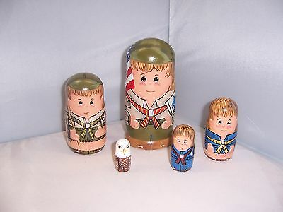 Hand painted Boy Scouts collection stacking nesting doll set