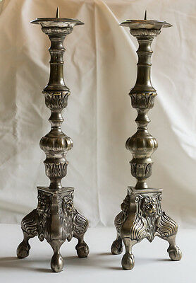 Vintage Silver-plate Candlesticks with Lion Head Design