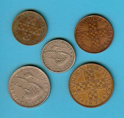 PORTUGAL 1963 - 1977 ~  5 x OLD COINS  LOT # 323  (*-*)