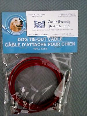 6' Dog Tie Out Cable 6' Multi-Use Plastic Coated Steel Cable With Swivel Hooks