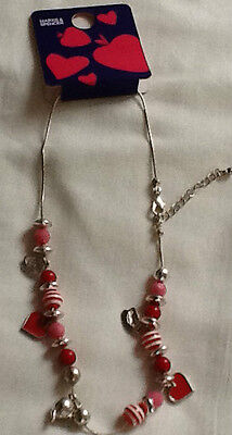 NEW  SILVER/PINK Hearts and Bead CHARM NECKLACE plus  CHARM CHAIN BRACELET