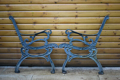 "Vintage Cast Iron Ornate Floral Garden Bench Ends, 31"", Very Heavy"