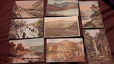 8 x old postcards of Wales - Bettws -y-Coed, Capel Curig lakes & Snowdon, Pass o