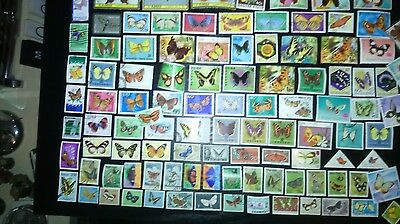 100 Different Thematics   Animal Kingdom   Butterfly Stamps - Off Paper (l2)