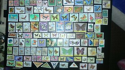 100 Different Thematics   Animal Kingdom   Butterfly Stamps - Off Paper (1)