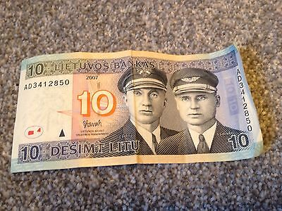 Lithuanian LT Former Currency Litas 10 Note Banknote Gay