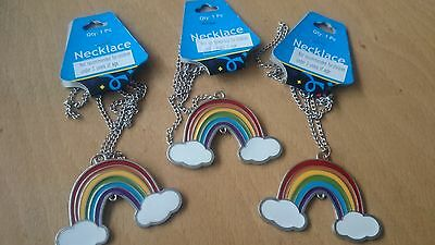 3 x metal rainbow necklaces girls party bag fillers