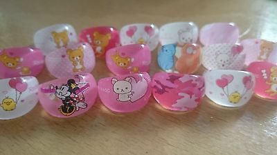 17 x acrylic girls ring jewellery party bag filler