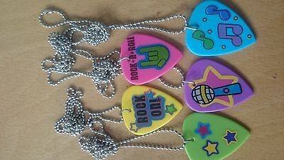 12 x rock star guitar pick necklaces party bag fillers