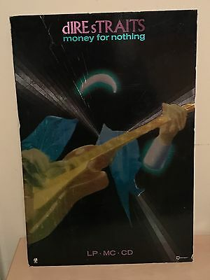 Vintage Dire Straits Money For Nothing Shop Display Board / Poster 43cm x 63cm