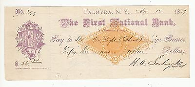 1877 CHEQUE THE FIRST NATIONAL BANK PALMYRA .N.Y. .Rfno.17.