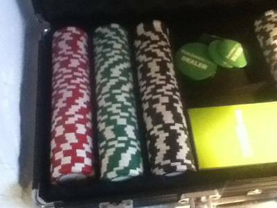 casino boxed set of 300 chips plus cards poker etc
