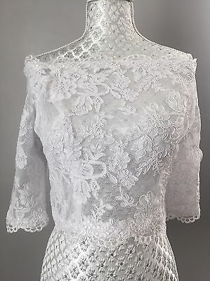 Off Shoulder White Alencon Lace Bridal Bolero Jacket Shrug Wedding New 12 40