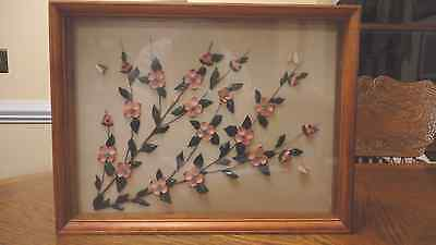 Vintage Pink Shell Art Picture Framed Floral Beautiful!  Butterflies