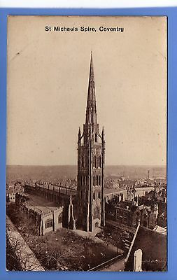 SUPERB  1912c ST MICHAELS SPIRE COVENTRY LOCAL TH & Co VINTAGE POSTCARD