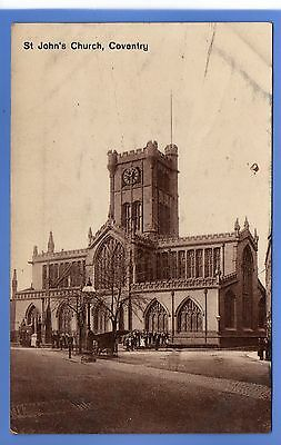 SUPERB  1912c ST JOHNS CHURCH COVENTRY LOCAL TH & Co VINTAGE POSTCARD