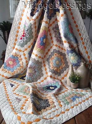 "Wonderful Cheddar Diamonds! VINTAGE 30s Flower Garden QUILT 79"" x 73"""