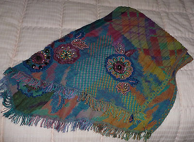 Most unusual hand crafted wool scarf/shawl with embroidery and beads 'New'