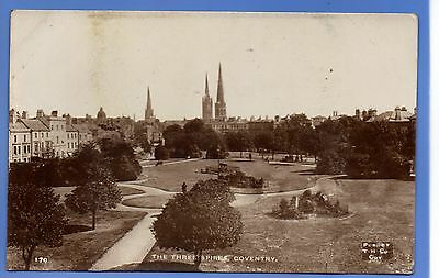SUPERB  1912c THREE SPIRES COVENTRY LOCAL TH Co RP PHOTO VINTAGE POSTCARD