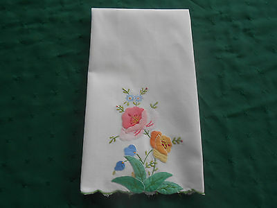 Beautiful White Towel With Hand Appliqued Flowers,  Circa 1930