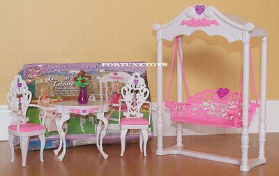 Rose Dollhouse Furnitures Size Garden Swing Armed Chairs Set For Barbie