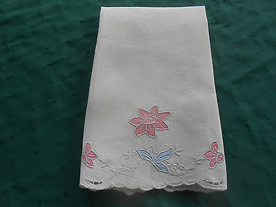 Charming Linen Towel With Pink Hand Appliqued Flowers,  Circa 1930