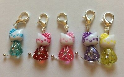 Five Hello Kitty Kitten Cat Stitch Markers / Knitting Markers Crochet Markers