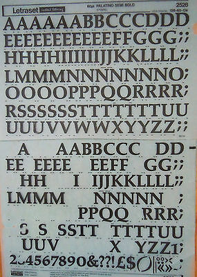 LETRASET Rub on Letter Transfers PALATINO SEMI BOLD 60pt (#2528) used
