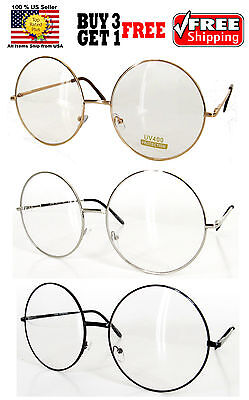 Gold Silver Black Wire Metal Round Frame Clear Lens Glasses Shades