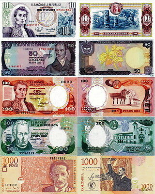 COLOMBIA - Lot Lotto 5 banconote 10/50/100/200/1000 pesos oro FDS - UNC