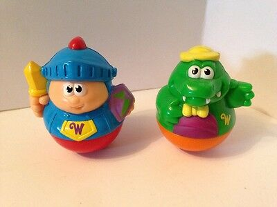 Lot of 2 Playskool WEEBLE WOBBLES FIGURES Knight Dragon