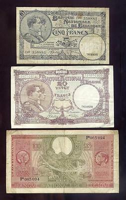 Belgium, 6 Different Scarcer Older Banknotes, 1 Error Note, Free USA Shipping