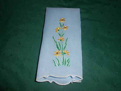 """Light Blue Linen Towel With Hand Embroidered """"black Eye Susans"""",  Circa 1920"""